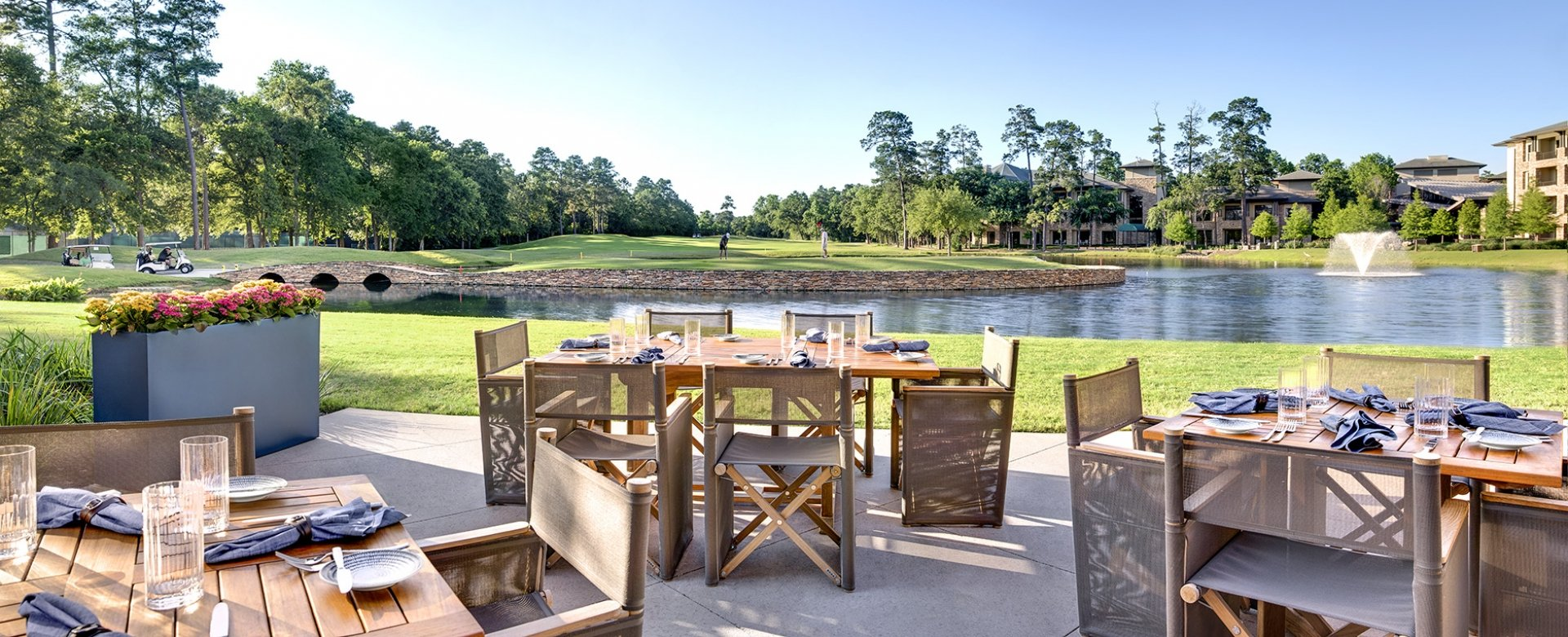 Outdoor dining setting over-looking the golf course