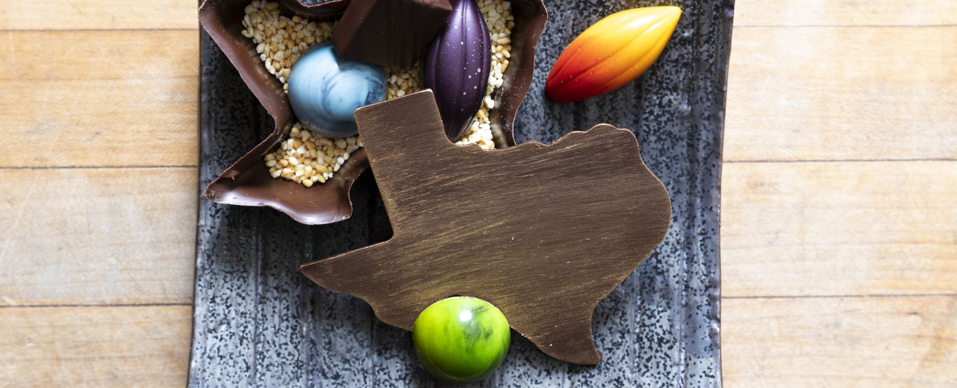 A chocolate in the shape of Texas.