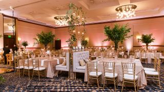 A dining room with gold chairs, pink walls and high ceilings.