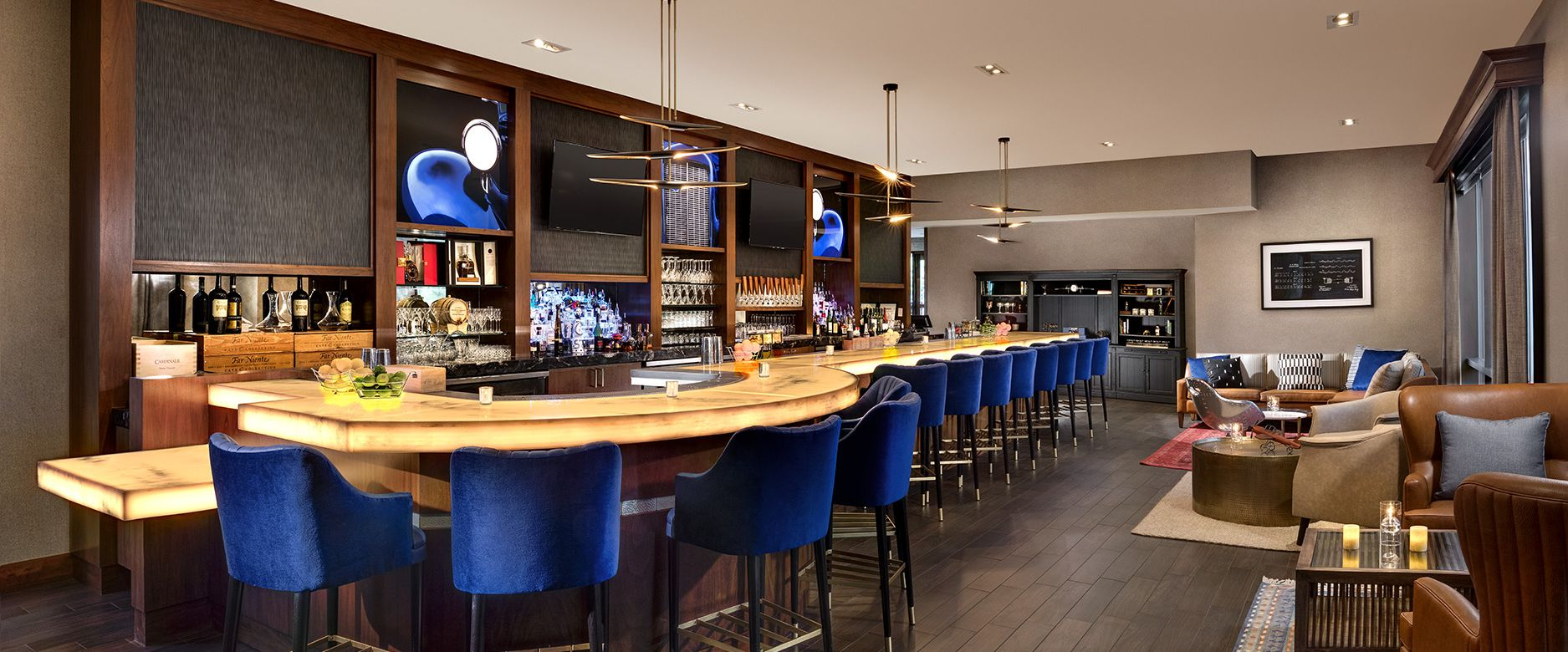 The bar at Robard's boutique luxury steakhouse.
