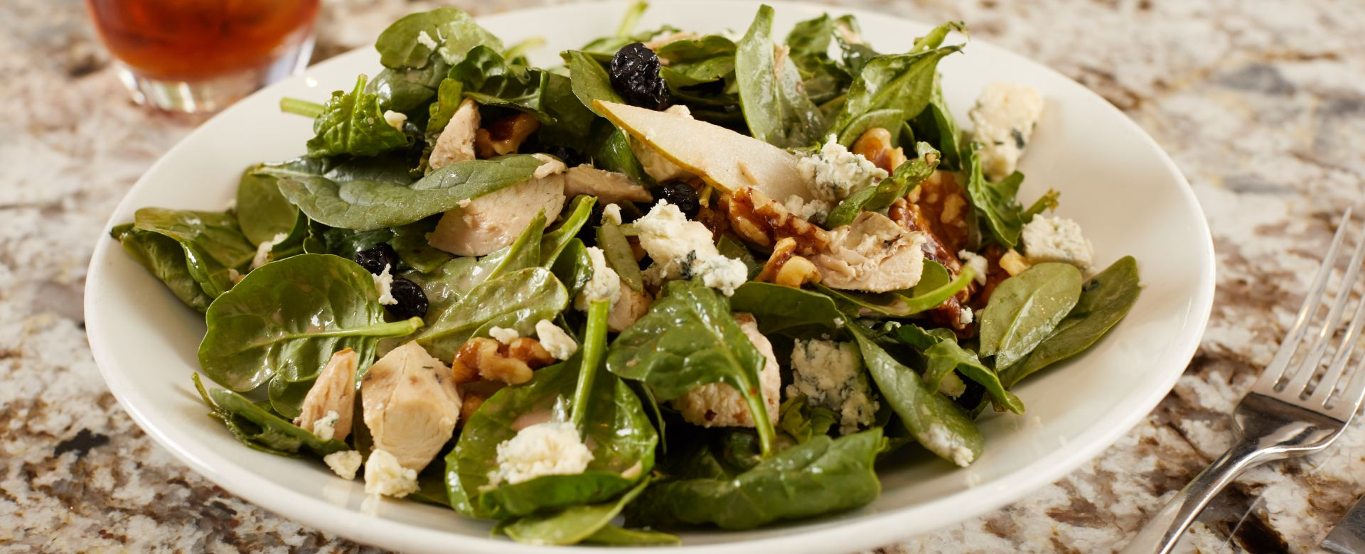 A spinach and chicken dish.