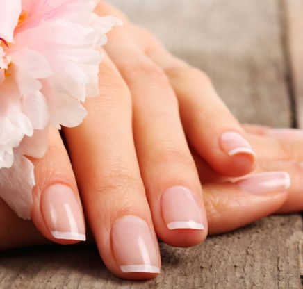 A french style manicure.